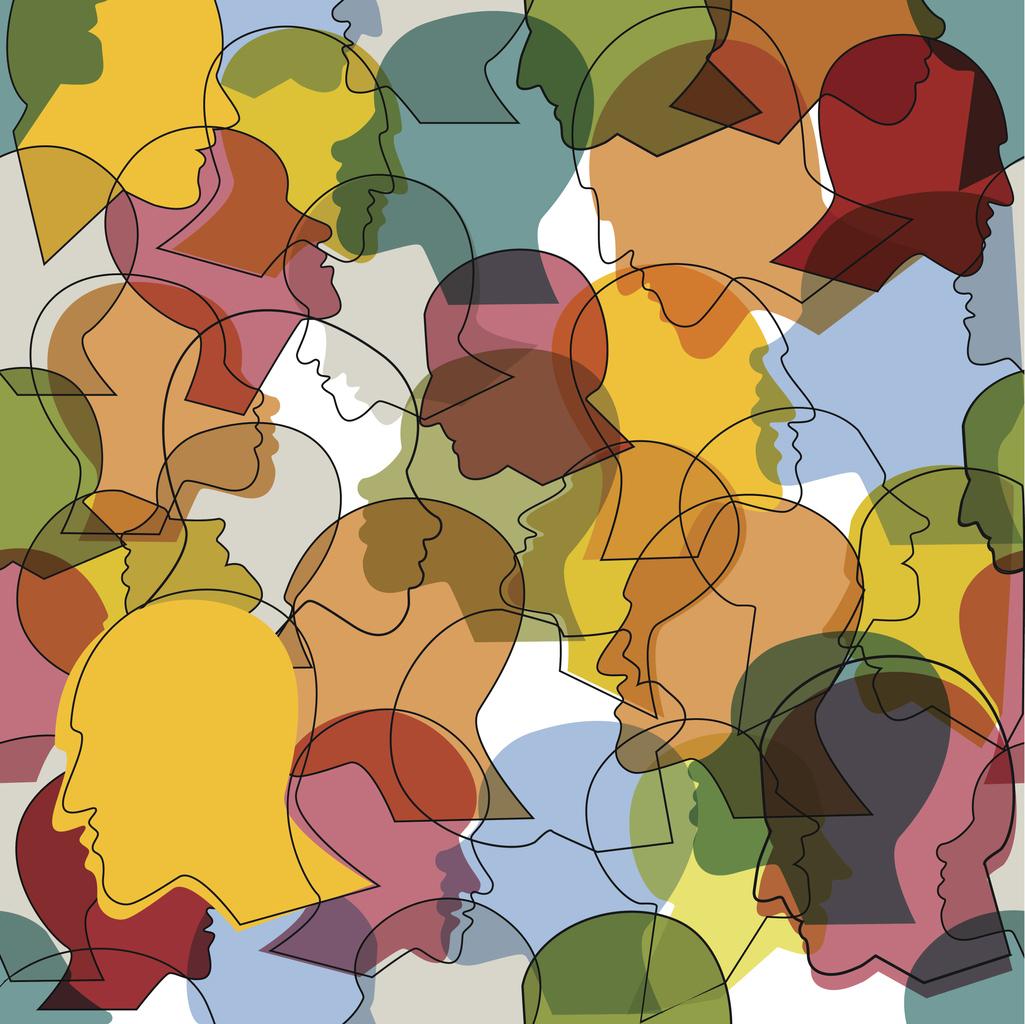 Illustration einer Menschenmasse, dargestellt durch viele verschiedene Köpfe im Profil.