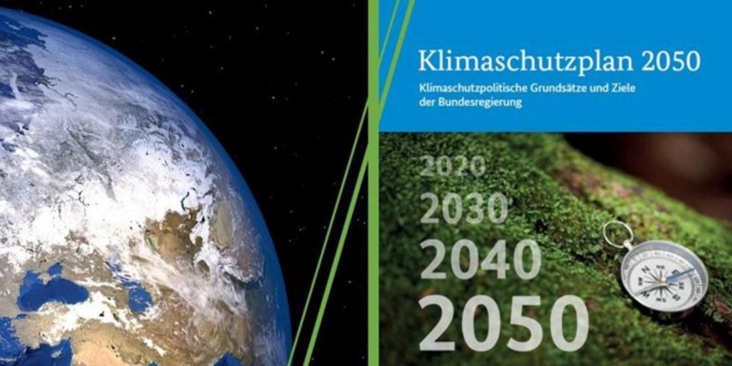 Das Coverbild des Klimaschutzplan 2050 zeigt links einen Auschnitt der Erdkugel, rechts einen Kompass. Neben dem Kompass die Zahlenabfolge von 2020 bis 2050 in Zehnerschritten.