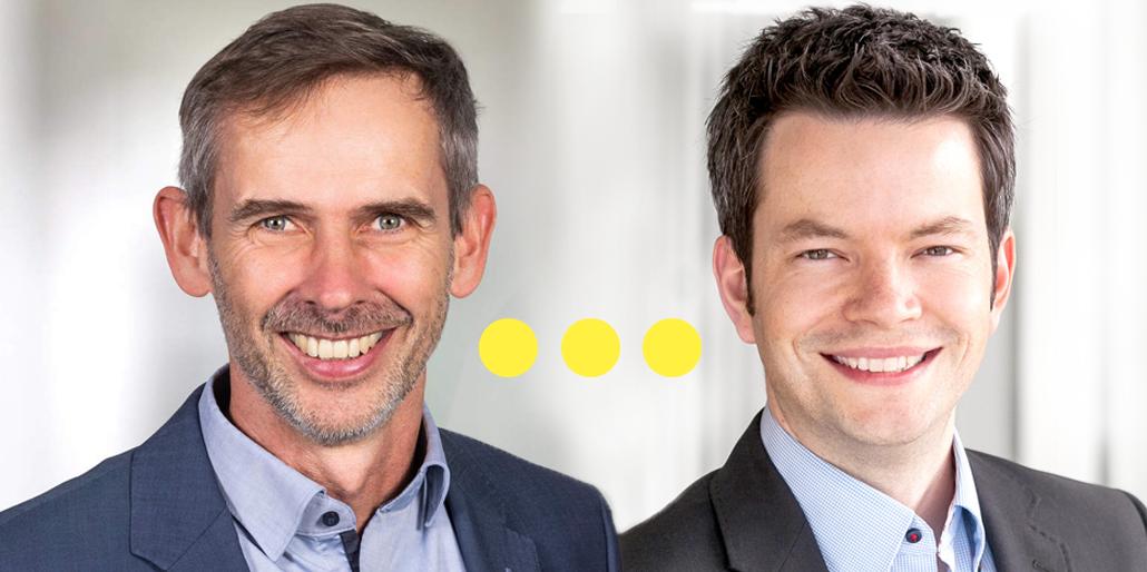 Die Themenfeldleiter Infrastruktur Ralf Eggert und Simon Oerding sind auf dem Bild zu sehen.