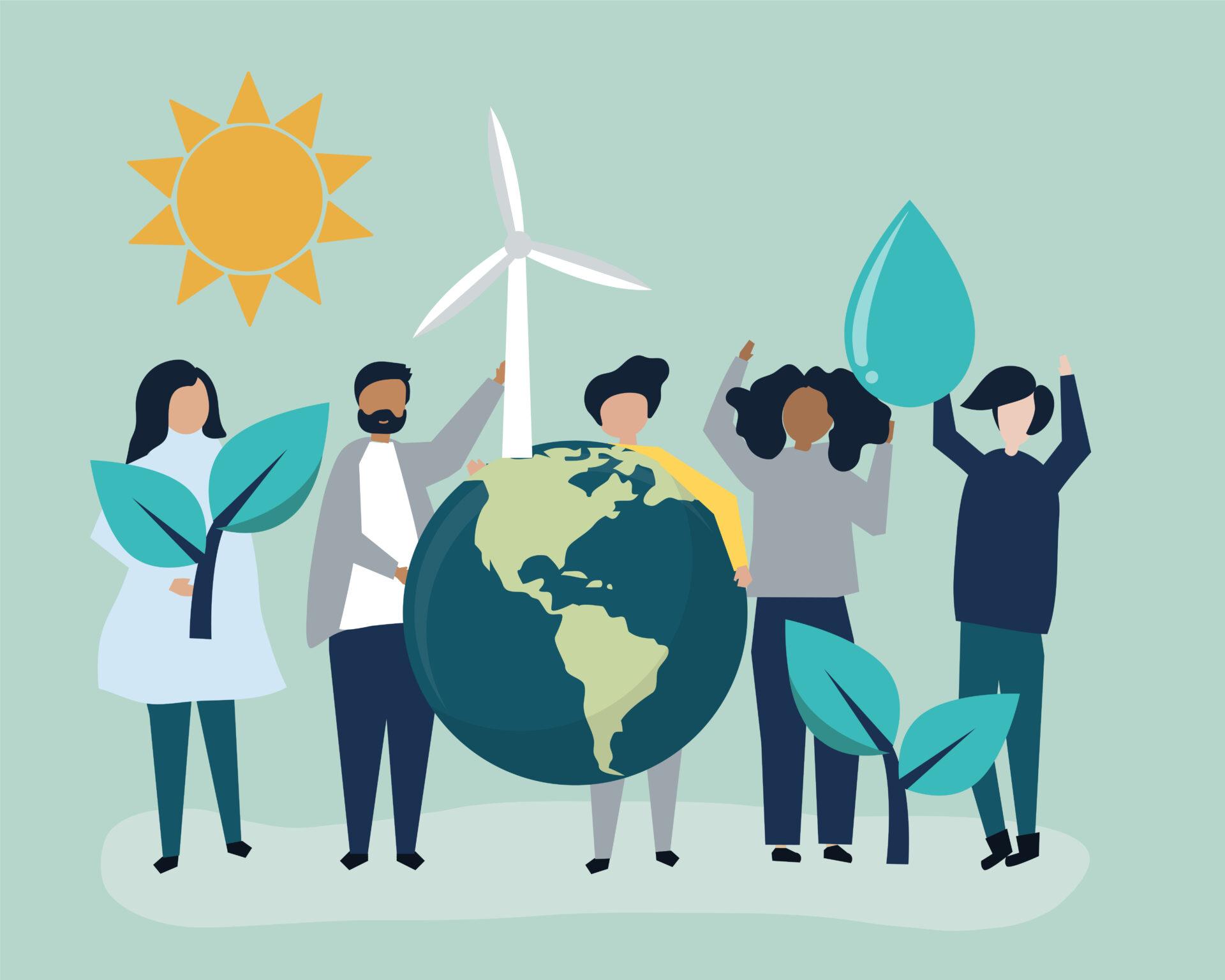 Das Bild zeigt Bürger:innen inmitten von Sinnbildern für die Energiewende: Sprösslinge, Windräder, Sonne, Wasser und die Erde.